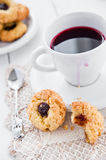Delicious and crunchy rice cookies with jam Stock Image