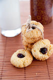 Delicious and crunchy rice cookies with jam Royalty Free Stock Image