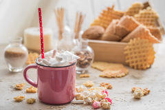 A delicious Cup of cocoa with marshmallows and straws Stock Image