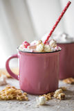 A delicious Cup of cocoa with marshmallows and straws Royalty Free Stock Photo