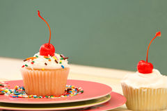 Delicious Cupcake. With cherry on top Stock Photography