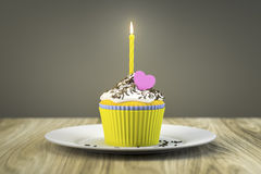 Delicious cupcake with a burning candle. 3d rendering of a delicious cupcake with a burning candle Royalty Free Stock Photos
