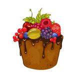 Delicious cupcake with chocolate and berries. On white background. Vector illustration Royalty Free Stock Photo