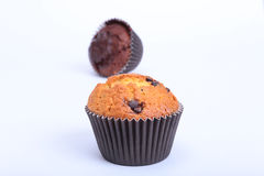 Delicious cupcake with chocolate isolated on white background Stock Image