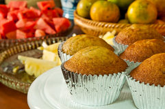 The delicious cupcake with fresh fruit Royalty Free Stock Image