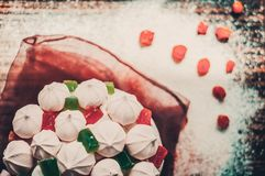 Delicious cupcake with marmalade and marshmallow for Easter celebration Royalty Free Stock Images