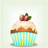 Delicious cupcake with milky chocolate cream and strawberries Stock Photography
