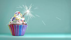 Delicious cupcake with a sparkler for an event celebration. stock video