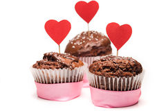 Delicious cupcake for Valentine Day close-up Royalty Free Stock Image