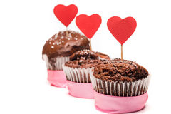 Delicious cupcake for Valentine Day close-up Stock Images