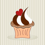 Delicious cupcake. Vector illustration of cupcake with heart on green background royalty free illustration