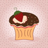 Delicious cupcake. Vector illustration of cupcake with strawberry on pink background vector illustration