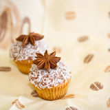 Delicious cupcakes with anise. Background of delicious cupcakes with anise Royalty Free Stock Image