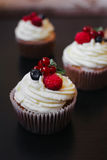 Delicious cupcakes with berries Royalty Free Stock Image