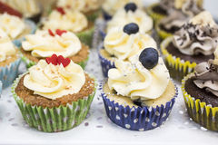 Delicious cupcakes with buttercream and fruits Stock Images