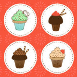 Delicious cupcakes collection. Vector illustration Stock Image