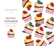 Delicious cupcakes dessert menu page layout Vector. Illustration Royalty Free Stock Photography