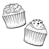 Delicious cupcakes drawing Stock Photo