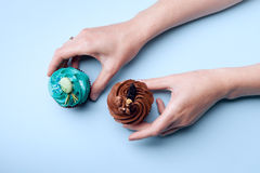 Delicious cupcakes in hands Stock Images