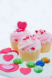 Delicious cupcakes. With hearts decorations for valentines day Stock Photography