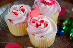 Delicious cupcakes. With hearts decorations for valentines day Royalty Free Stock Image