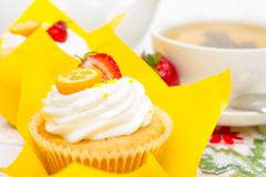A delicious cupcakes for morning tea. A delicious fruity cupcakes for morning tea royalty free stock images