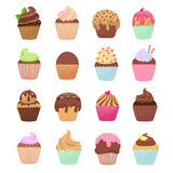 Delicious cupcakes and muffins vector cartoon set Stock Image