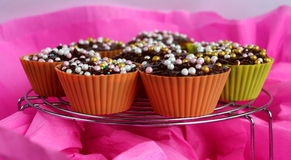 Delicious cupcakes on the pink background Royalty Free Stock Photos