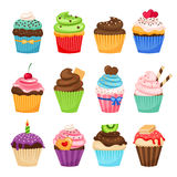 Delicious cupcakes and sprinkles muffin set Stock Images