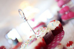 Delicious cupcakes. On table in a candy bar Stock Photography