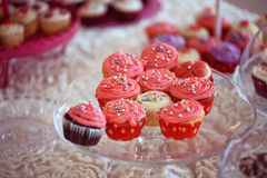 Delicious cupcakes. On table in a candy bar Royalty Free Stock Photos