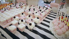 Delicious cupcakes on table  close-up stock video