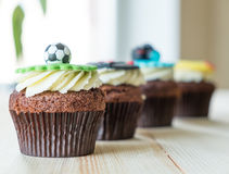 Delicious cupcakes on table Royalty Free Stock Images