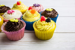 Delicious cupcakes on a table Royalty Free Stock Photography
