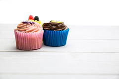 Delicious cupcakes on a table Stock Image