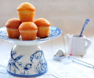 Delicious cupcakes on table on white background Royalty Free Stock Photo