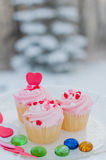 Delicious cupcakes. For Valentines Day Stock Photos