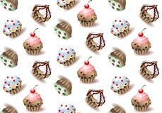 Delicious cupcakes and vector sprinkles muffin set isolated Stock Image
