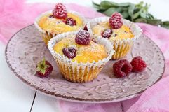Delicious curd muffins with fresh raspberries, decorated with powdered sugar. On a ceramic plate Stock Photo