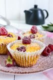 Delicious curd muffins with fresh raspberries, decorated with powdered sugar. On a ceramic plate Royalty Free Stock Image