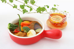 Delicious curry with tea Stock Photography