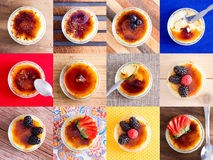 Delicious custard creme dessert variations Stock Photo