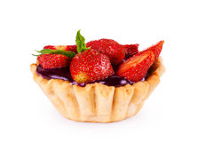 Delicious custard tart with strawberries Royalty Free Stock Image