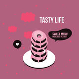 Delicious cute donut dessert poster Modern flat isometric 3d style Royalty Free Stock Images