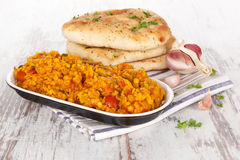Dal with naan. Royalty Free Stock Photo