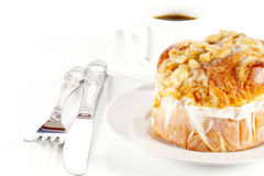 Delicious danish pastry with a cup of black coffee Stock Image