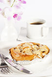 Delicious danish pastry with a cup of black coffee Stock Photos