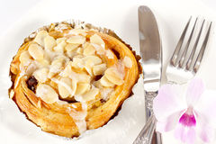 Delicious danish pastry on white plate Royalty Free Stock Images