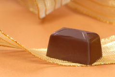 Delicious dark chocolate bonbon Royalty Free Stock Image