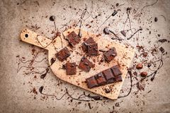 Delicious dark chocolate with cocoa powder Royalty Free Stock Photo